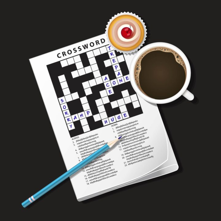 Students completing an English language vocabulary crossword