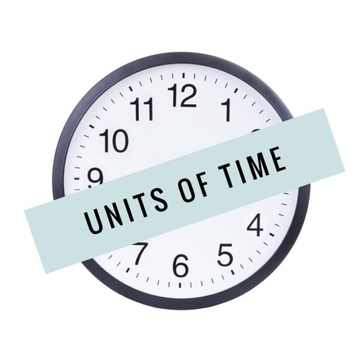 Clock for vocabulary quiz - units of time