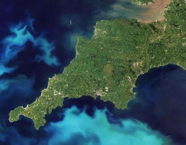 Satellite view of Cornwall